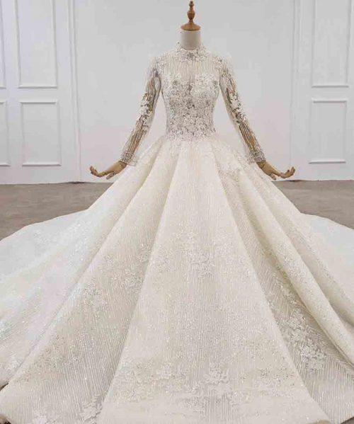 like white wedding dress long sleeve organza