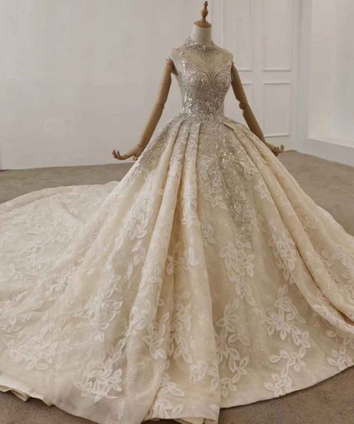 High Neck Boho Wedding Dress With Silver