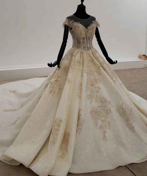 Glitter Wedding Dress With Bead