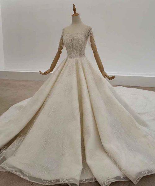 Train With Rhinestone Wedding Dress
