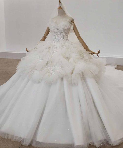 Ivory Off Shoulder Wedding Dress