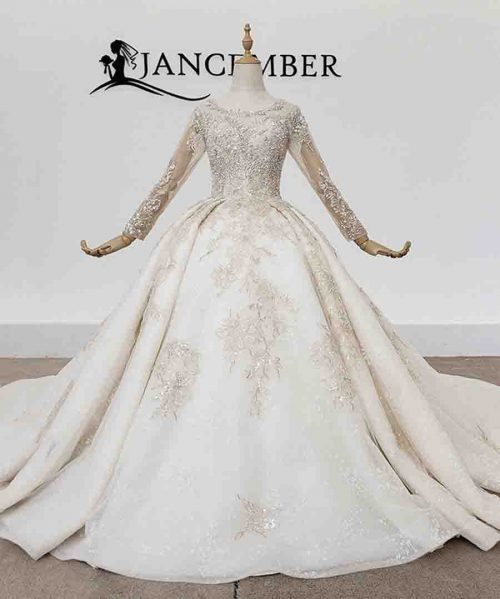 Bead Wedding Dress Long Sleeve