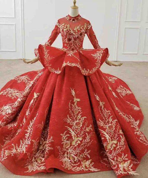 Peplum Wedding Dress Bird Applique
