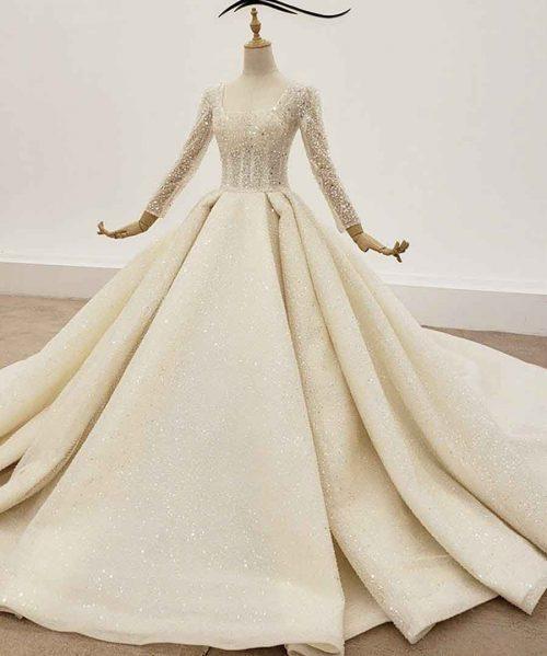 big sequin wedding gown long sleeve
