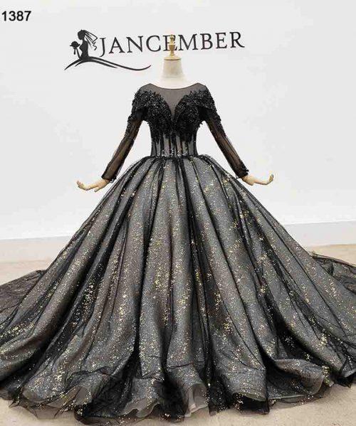 Black Evening Dresses Top Bead Rose