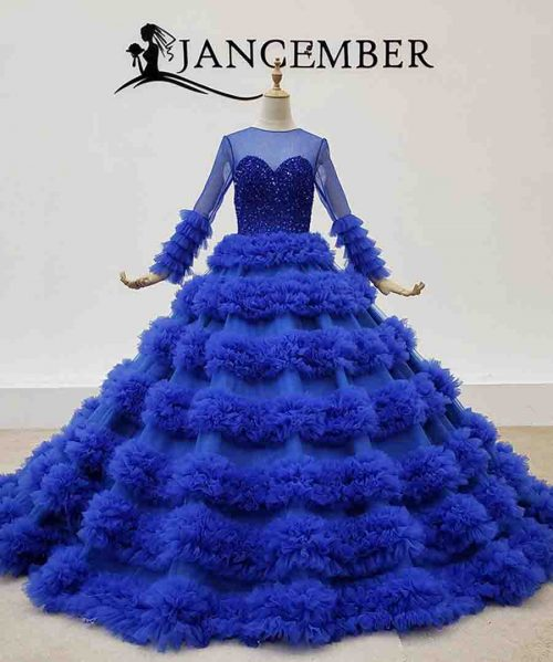 Royal Blue Evening Dresses Tiered