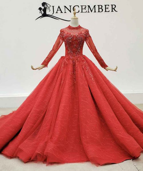 Wedding Dress High Neck Boho