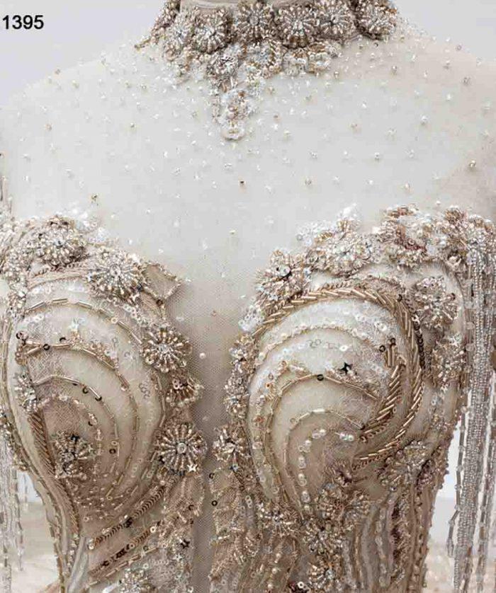 Wedding Dress Neck With Bead Applique