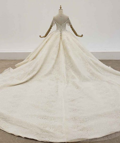 Transparent Neck Wedding Dress Short Sleeves