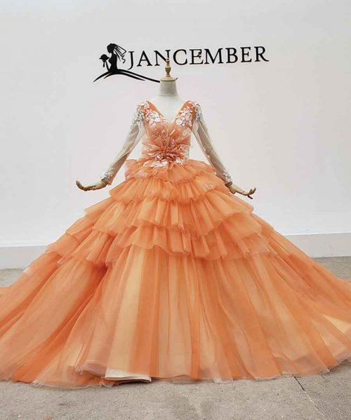 Party Dress Orange Long Dresses Evening Flower