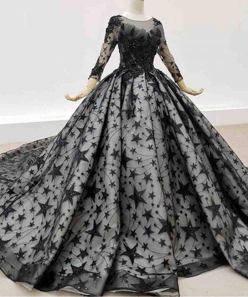Starry Sky Dress Women Elegant Bead Rose