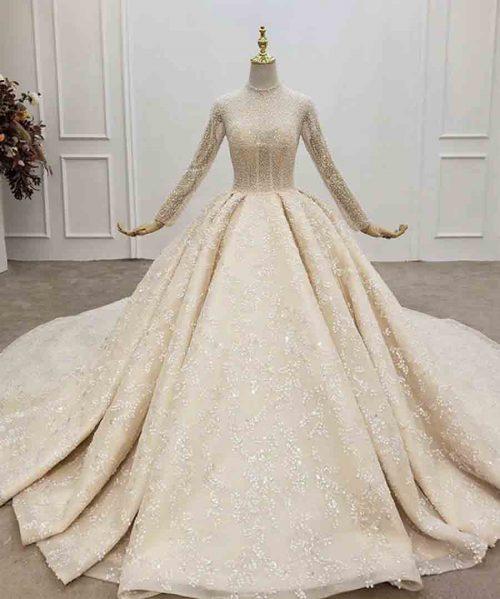 Muslim high neck pearl wedding dress