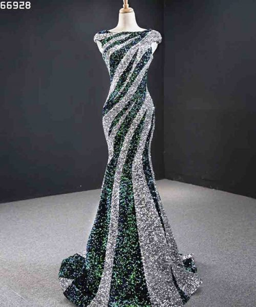 Party Dress Mermaid Sequins Silver