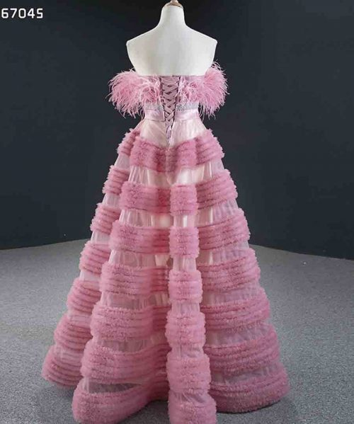 Pink Evening Dresses Strapless Lace Up