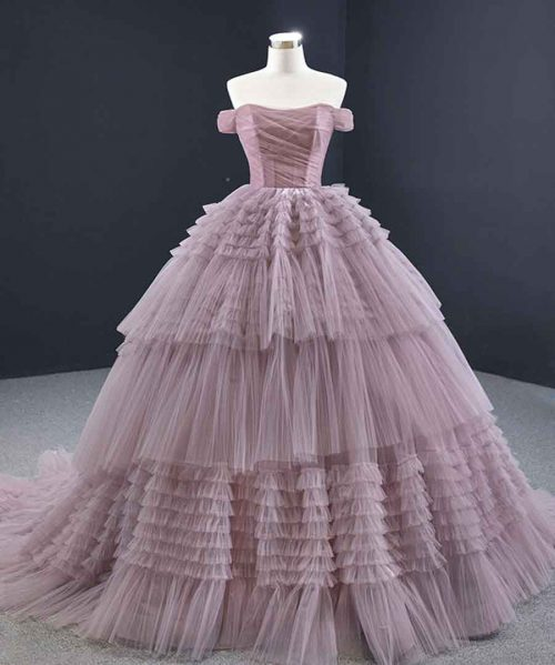 Tiered Chapel Train Ball Gown
