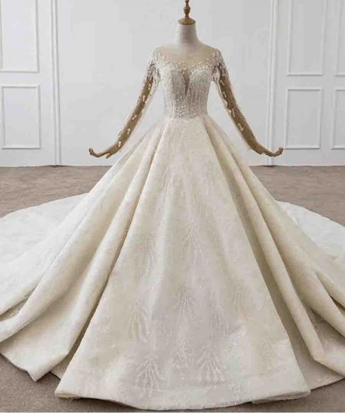 Whole With Luxury pearl Applique Bridal Dress