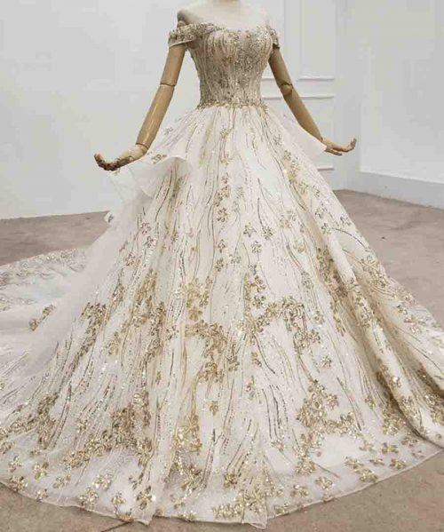 Off Shoulder Evening Dresses With Gold