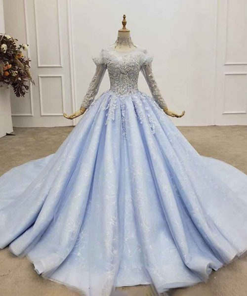 Evening Gown Transparent High Neck With Rhinestone