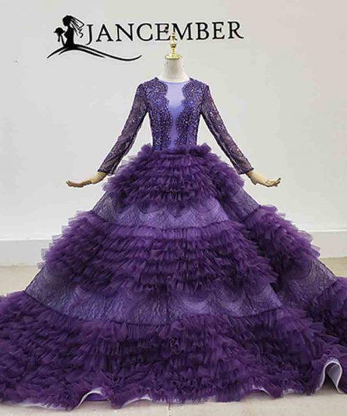 Princess Purple Long Sleeve Beading Crystals