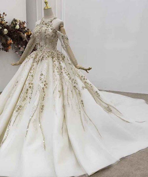 Beaded Luxury Halter Wedding Dress