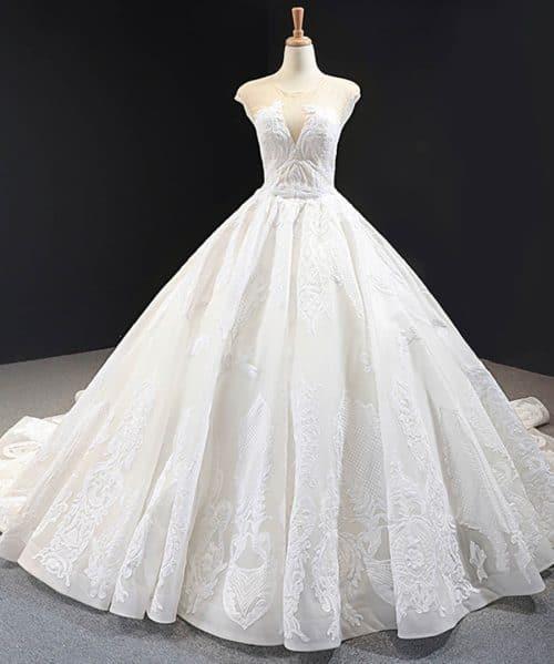 O Neck Appliques Ball Gown Wedding Dress