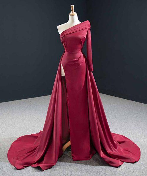 Red Elegant Satin One Shoulder Evening Dresses