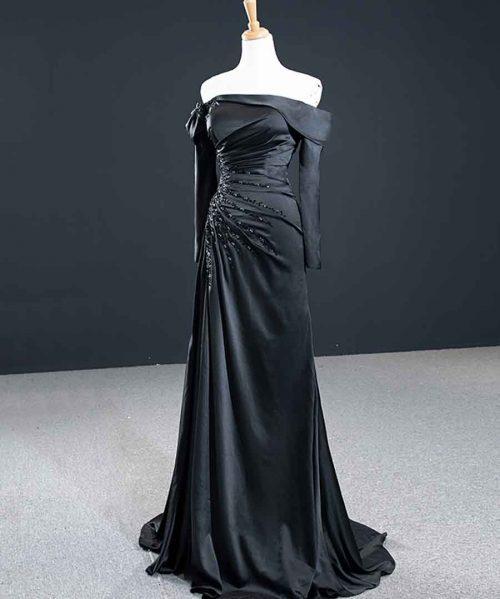 Satin Long Sleeve Detachable Black Sexy Evening Dresses