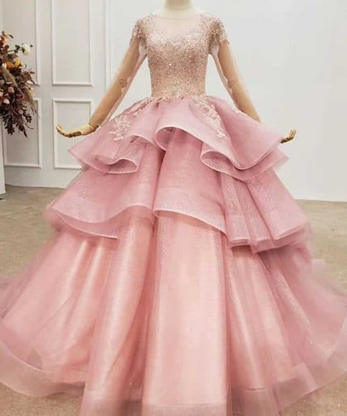 Pink Luxury Tulle Sequins Evening Dress
