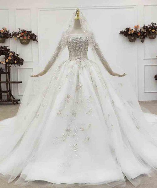 Mariage Ball Gowns Veiled Luxury Wedding Dress