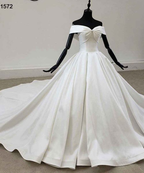 Off The Shoulder Short Sleeve White Satin Wedding Dress