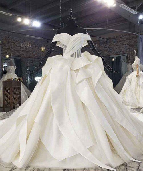 Off The Shoulder Ruffle Satin Wedding Dress