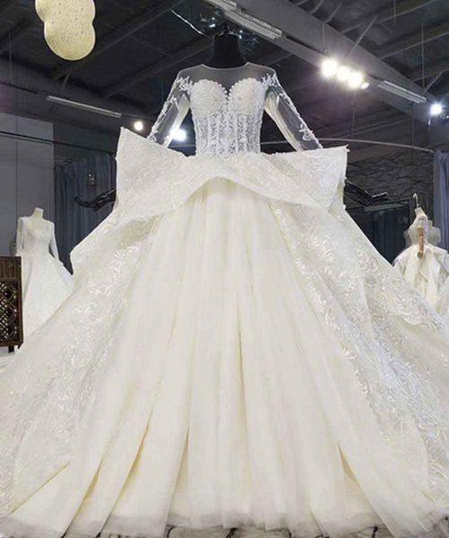 O Neck Illusion Ruffle Wedding Dress
