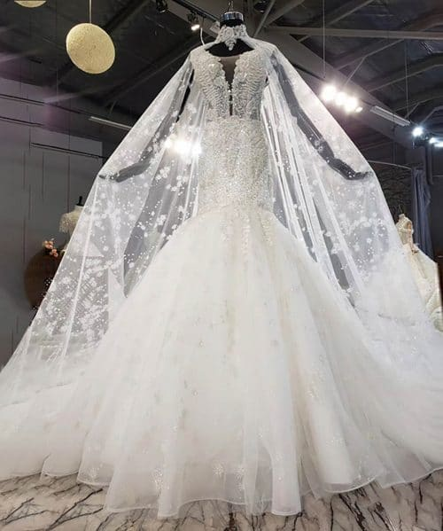 Appliques Lace Up Mermaid Wedding Dress