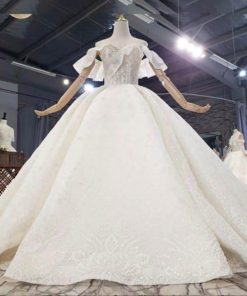 Sweetheart Off The Shoulder Crystal Wedding Dress