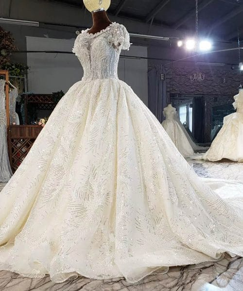 Flowers Made Of Sequins Crystal Wedding Dress