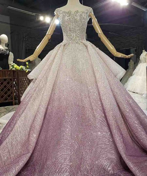 Purple And Pure White Collide Gown Evening Dress