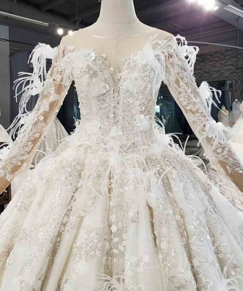 Beaded Sequin Feathers Wedding Dress