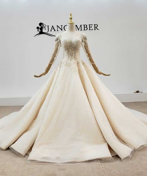 O-Neck Pearls Tulled Wedding Dress