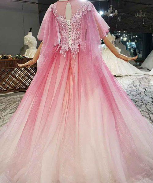 Half Sleeve Crystal O-Neck Rose Red Evening Dress