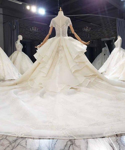 Appliques Crystal Sequined V-Neck Wedding Dress