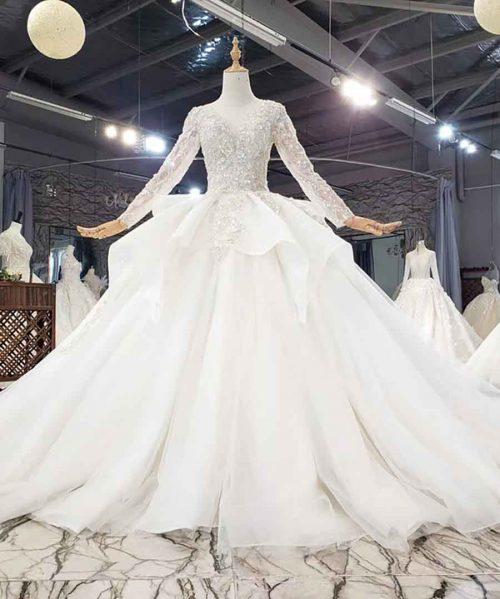 Crystals Sexy Deep V-Neck Wedding Dress
