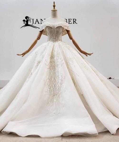 Applique Crystal Sequined Wedding Dress