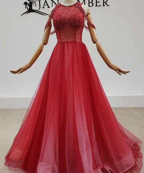 Backless Crystal Beading Tulled Evening Dress