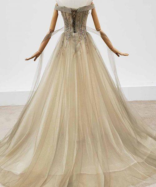 Boat Neck Backless Crystal Tulled Evening Dress