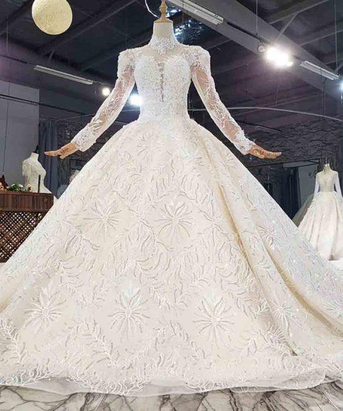 Crystals High Neck Long Sleeve Wedding Dress