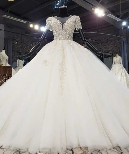 Sequined Pearls On The Upper Body Wedding Dress