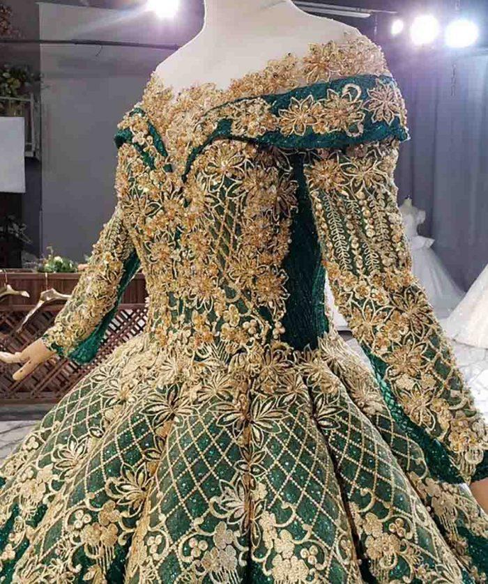 Luxury Golden Beads And Sequins Green Evening Dress 2020