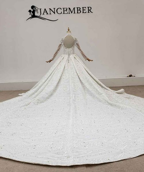 Shiny Studded With Diamonds Crystal Wedding Dress 2020
