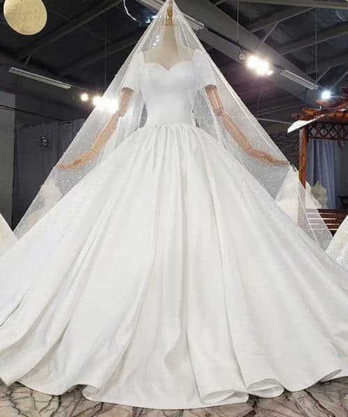 Simple Pure White Satin Waist Bow Wedding Dress 2020