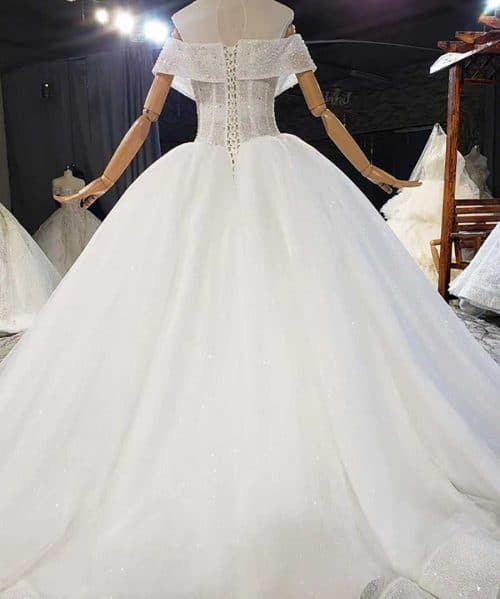 Full Of Beads And Sequins Tulled Wedding Dress 2020
